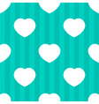 Mint stripes and white hearts seamless pattern vector image