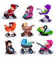 baby strollers and car seats set safety vector image