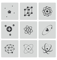 black atom icons set vector image vector image