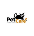 black cat pet care logo symbol vector image