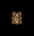 bull dog samurai mascot logo vector image