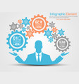businessman infographic gear blue vector image vector image