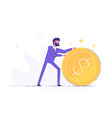 businessman is rolling a huge golden dollar coin vector image