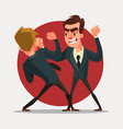 businessmen characters fight vector image vector image