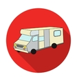 Campervan icon in flat style isolated on white