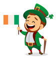cartoon funny leprechaun with irish flag and cane vector image vector image