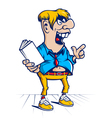 cartoon hooligan student character vector image vector image