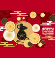 chinese new year papercut rat and flowers pattern vector image vector image