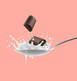 chocolate pieces and with milk splashing on spoon vector image