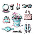 collection set of sketchy fashion stylish elements vector image