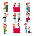 couples in love set happy lovers on date at vector image