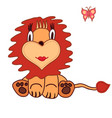cute cartoon lion little king vector image