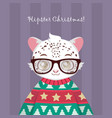 cute hipster snow leopard in ugly christmas vector image