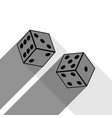 dices sign black icon with two flat gray vector image