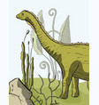 diplodocus dinosaur card vector image vector image