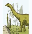 diplodocus dinosaur card vector image
