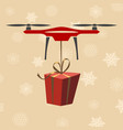 drone with gift modern delivery of gifts for vector image vector image