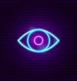 eye neon sign vector image vector image