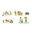 family at home parents and children in house vector image