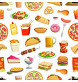 fast food pattern seamless background hamburgers vector image vector image