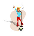 female singer flat character cheerful young woman vector image vector image