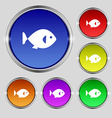 fish icon sign Round symbol on bright colourful vector image vector image