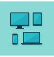 Flat computer and mobile devices set over blue vector image vector image