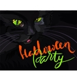 Halloween black cat with green eyes Halloween vector image