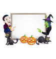 halloween dracula and witch sign vector image vector image