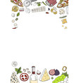 hand drawn background with italian food isolated vector image vector image