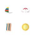 icon flat season set of solar sailboard beach vector image