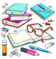 icons colored stationery for school and vector image