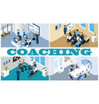 isometric coaching and training composition vector image vector image