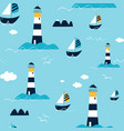 lighthouse seamless pattern vector image