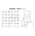 line weather icon set with line hands holding vector image vector image