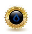 lisk cryptocurrency coin gold badge vector image