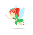 little red-haired happy fairy in a green dress vector image