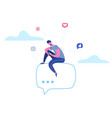 man character chatting on phone in social media vector image vector image