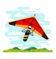 man flying hang glider flat vector image vector image