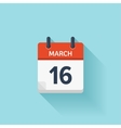 March 16 flat daily calendar icon Date vector image vector image