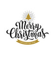 merry christmas calligraphy on white background vector image