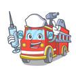 nurse fire truck character cartoon vector image