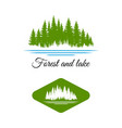 pine forest and lake river logo design vector image
