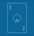 playing card ace spades on lined paper vector image vector image