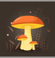 postcard with mushrooms suillus on a floral vector image vector image
