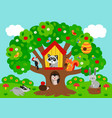 poster tree with forest animals vector image vector image