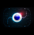 realistic blue circle game button on abstract vector image