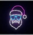 santa claus in blue sunglasses neon sign bright vector image vector image