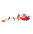santa claus with elves with present bags vector image
