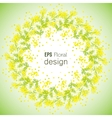 Spring Flower background with wreath of Mimosa vector image